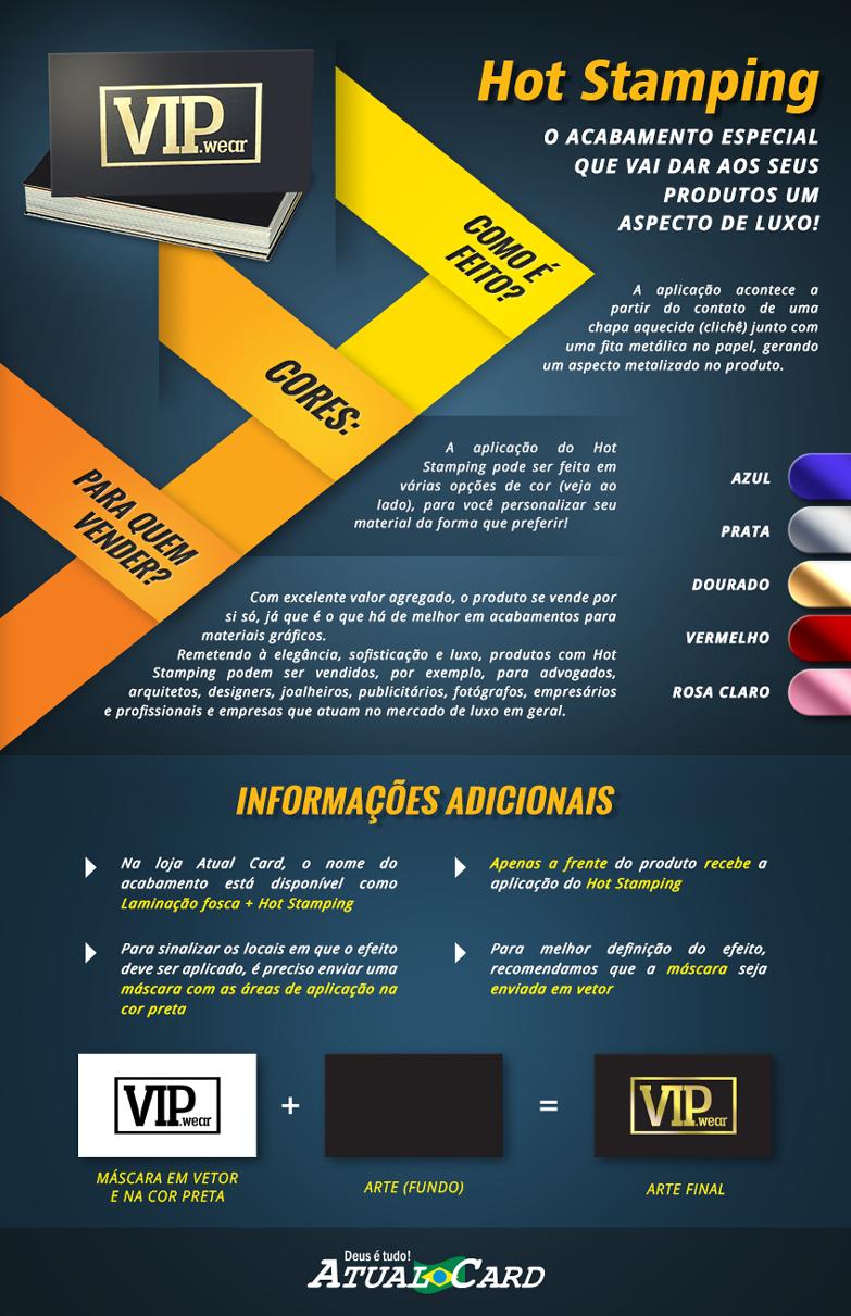 infografico Atual Card - O que é Hot stamping?  Cores disponíveis do Hot Stamping  Para quem vender?